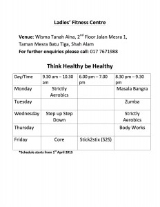 Tanah Aina Cafe - Ladies' Fitness Centre aerobics schedule April