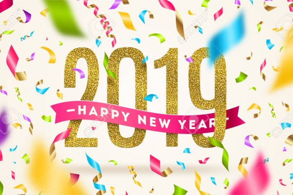 Happy New year 2019 greeting vector illustration. Year numbers with pink ribbon and multicolored confetti on a white background.
